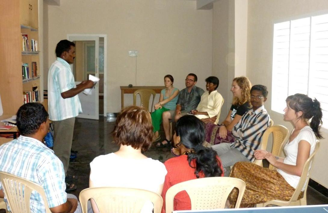 Projects Abroad volunteer sit in on a teaching workshop in India